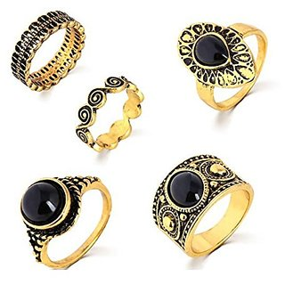 Fashion Steampunk Turkish Antique Gold Plated Alloy Nature Blue Stone Midi Finger 5pcs Rings Set Online Get 50 Off
