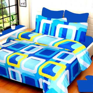 Dynamic Cotton Double Bedsheet with 2 Pillow Covers-Blue