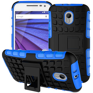 Zhopix Kickstand Armour Dual Layer Rugged Back case cover For MOTO G3  Blue