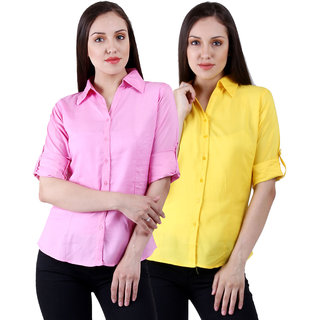 NumBrave Lightpink  Yellow Rayon Solid Formal Shirts (Combo)
