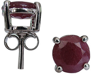 3.24 CTS, 7mm Round Shape Genuine Ruby .925 Sterling Silver Earrings