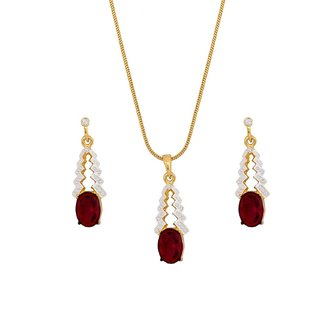 Viva Red Ruby Pendant Set Crystal Diamonds With Gold Two Tone Plated By For Women