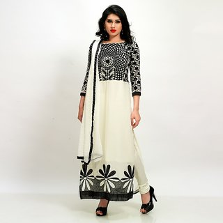 Sareemall White and Black Chudidar Semi Stitched Suit With Dupatta NTY1001