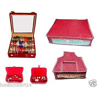 Atorakushon Pack of 3 rolla jewelery box combo of bangle box cover and pouches set of 5