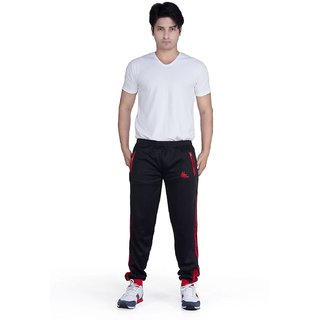 Mens Sporty Trackpant Black Red