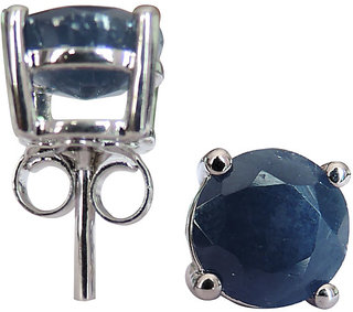 3.44 CTS, 7mm Round Shape Genuine Blue Sapphire .925 Sterling Silver Earrings