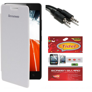 Tidel flip cover for lenovo a6000 plus with screen guard&aux cable