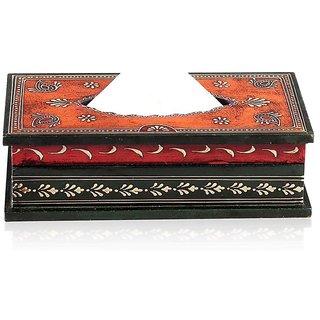 Orange And Black Enamel Tissue Box