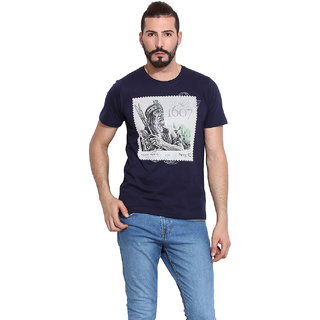 Western Vivid Blue 100 Cotton Round Neck T-Shirt For Men