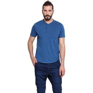 Western Vivid Blue 100 Cotton Henley T-Shirt For Men