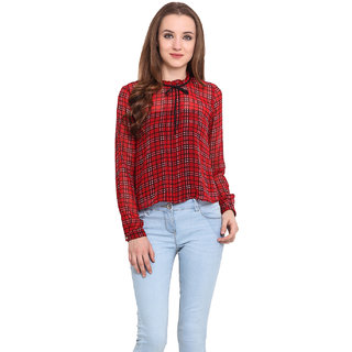 Blue Sequin Red Polyester Checks Round Neck Top