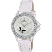 Swisstone VOGLR501-WHITE White Dial White Strap Analog Wrist Watch For Women/Girls