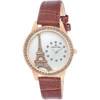Swisstone JEWELS-LR211-BRW White Dial Brown Leather Strap Wrist Watch For Women/Girls