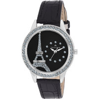 Swisstone JEWELS-LR211-BLK Black Dial Black Leather Strap Wrist Watch For Women/Girls