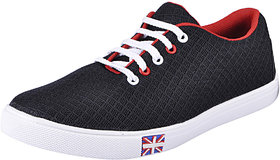 Fausto MenS Black Sneakers Lace-Up Shoes (FST 1052 BLACK)