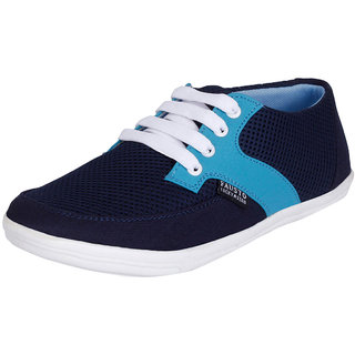 Fausto MenS Blue Sneakers Lace-Up Shoes (FST 1016 NAVY BLUE)
