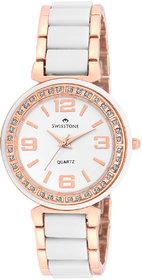 Swisstone CREM505-WHT-RGOLD White Ceramic Wrist watch for Women/Girls