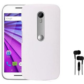 ClickAwaywhite Stylish Rubberized Plastic Back Cover For Moto G (3Rd Gener