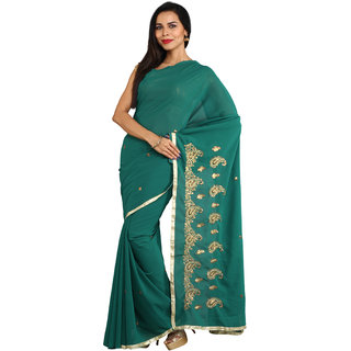 Iraya Green Georgette Embroidered Saree
