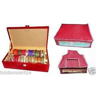 Atorakushon Pack of 2 roll jewelery box combo of bangle box cover and pouches set of 3