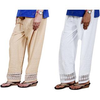 Indiweaves Women Cotton  Chaudi Lece Semi-Patiala Salwar Set Of -2  7132371326-Iw