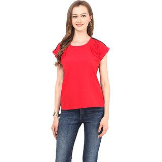 Stilestreet Red Crepe Plain Round Neck Top