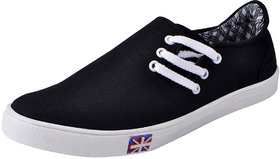 Fausto MenS Black Sneakers Lace-Up Shoes (FST 1074 BLACK)