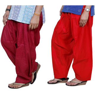 Indiweaves Women Cotton Semi-Patiala Salwar Set Of -2  7130317-Iw