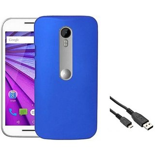 ClickAwayDBLUE  Stylish Rubberized Plastic Back Cover For Moto G (3Rd Gener