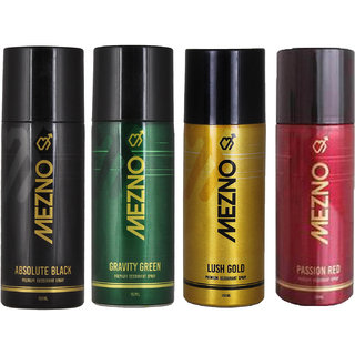 Mezno Fragrance Deodorant Body Spray For Men- Pack Of 4- 150ml Each