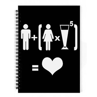 Dreambolic Boy Girl Drink Love A5 Notebook Spiral Bound(black)
