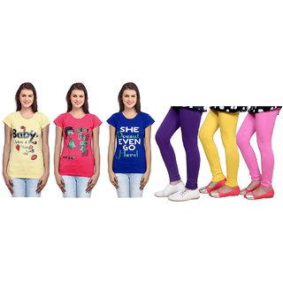 Indiweaves Cotton Girls T-Shirt  Girls Legging Set Of - 6  310000111714020708-Iw