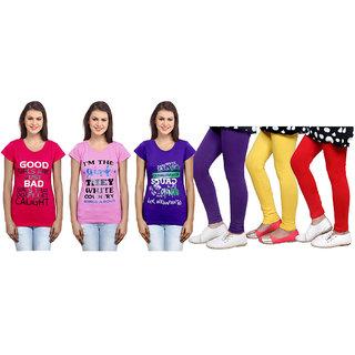 Indiweaves Cotton Girls T-Shirt  Girls Legging Set Of - 6  310060708714020704-Iw