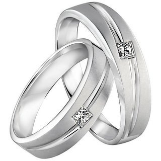 RM Jewellers CZ 92.5 Sterling Silver American Diamond Stylish Loving Couple Band For Men and Women