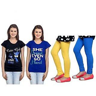 Indiweaves Cotton Girls T-Shirt  Girls Legging Set Of - 4  31005117140709-Iw