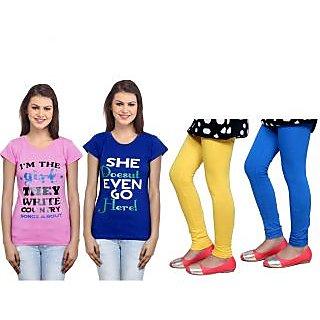 Indiweaves Cotton Girls T-Shirt  Girls Legging Set Of - 4  31007117140709-Iw