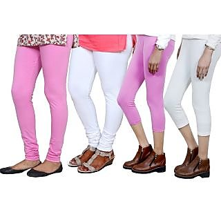 Indiweaves Women Cotton Bio-Wash Legging With Women Cotton Capri Set Of - 4  71040497180906-Iw-M