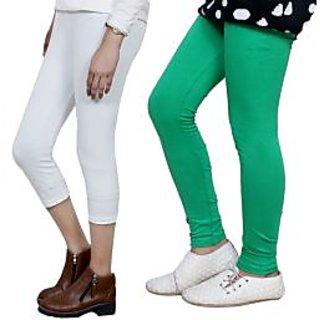 Indiweaves Girls Cotton Legging With Cotton Capri Set Of-2  7180271406-Iw
