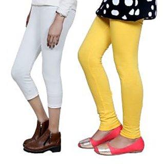 Indiweaves Girls Cotton Legging With Cotton Capri Set Of-2  7180271407-Iw
