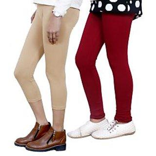 Indiweaves Girls Cotton Legging With Cotton Capri Set Of-2  7180771400-Iw