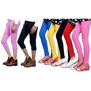 Indiweaves Girls Cotton Legging With Cotton Capri Set Of -7  71809130907050408-Iw