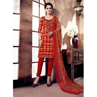 Swaron Beige And Red Cotton Embroidered Salwar Suit Dress Material (Unstitched)