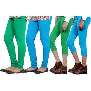 Indiweaves Women Cotton Bio-Wash Legging With Women Cotton Capri Set Of - 4  71028457180105-Iw-Xxl