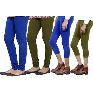 Indiweaves Women Cotton Bio-Wash Legging With Women Cotton Capri Set Of - 4  71031447180608-Iw-S
