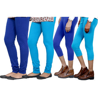 Indiweaves Women Cotton Bio-Wash Legging With Women Cotton Capri Set Of - 4  71031457180605-Iw-L