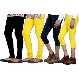 Indiweaves Women Cotton Bio-Wash Legging With Women Cotton Capri Set Of - 4  71039487181304-Iw-L