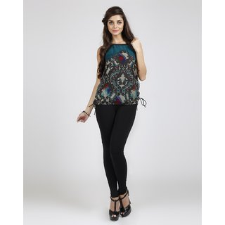 Free Spirited Turquoise Georgette Printed V-Neck Top (FSJN14267S)