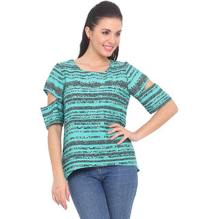 Ridress Green Polyester Printed Round Neck Top