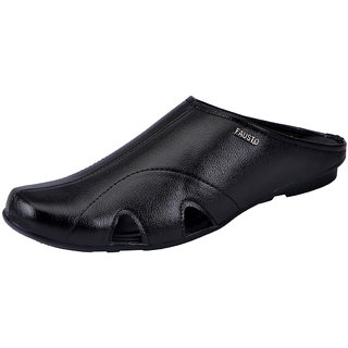 Fausto MenS Black Slippers (FST 1083 BLACK)