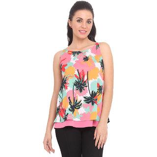 Ridress Pink Polyester Printed Round Neck Top